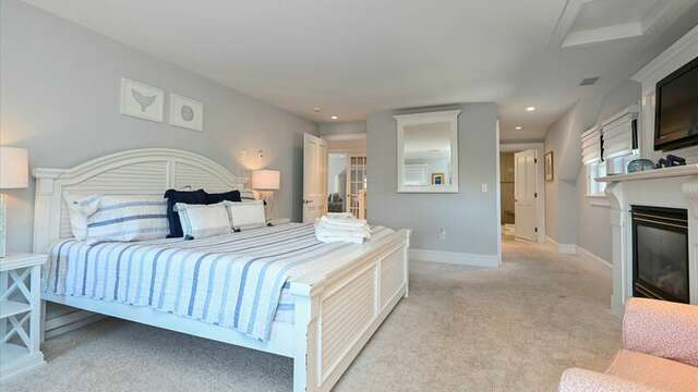 Upstairs Bedroom #2 with King Bed, Flat Screen TV and On Suite Bath #2 with Shower. 201 Main Street Chatham Cape Cod New England Vacation Rentals