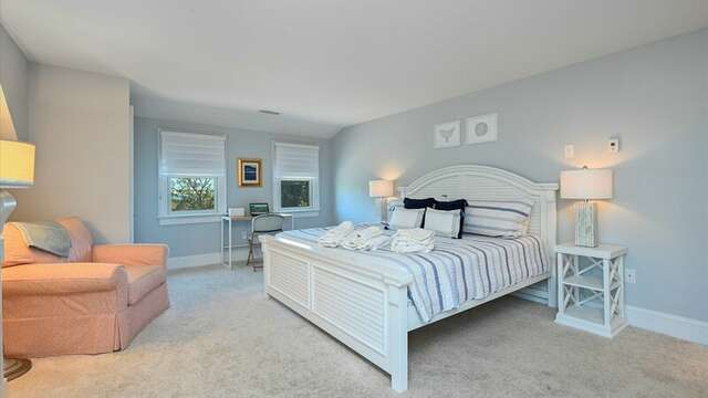 Upstairs Bedroom #2 with King Bed, Flat Screen TV and On Suite Bath #2 with Shower. Enjoy remote work with a nice desk. 201 Main Street Chatham Cape Cod New England Vacation Rentals
