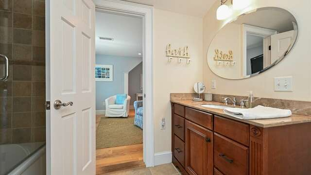 On Suite Bathroom #3 JacknJill Bath that has shower and tub. 201 Main Street Chatham Cape Cod New England Vacation Rentals