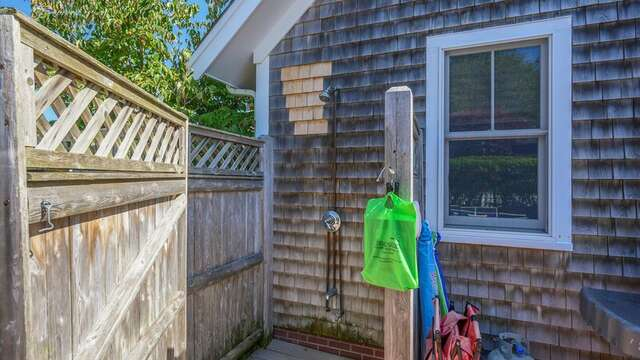 Outdoor shower off the Patio. 201 Main Street Chatham Cape Cod New England Vacation Rentals