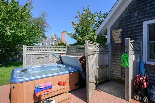 Outdoor shower and Hot tub at- 201 Main Street Chatham Cape Cod New England Vacation Rentals