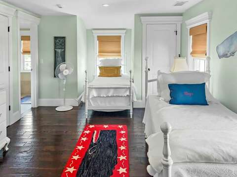 Bedroom 3 with 3 Twin beds and en suite bath - 32 Bearses By Way Chatham Cape Cod New England Vacation Rentals