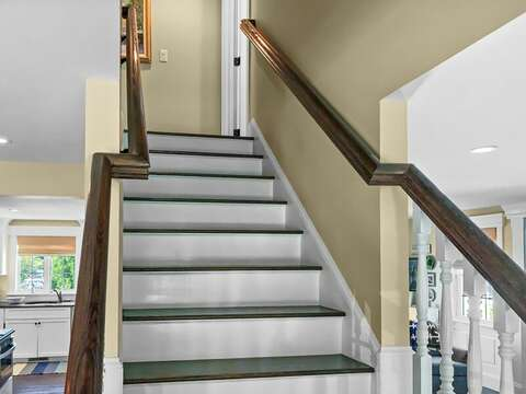 Stairs to second floor with all 3 bedrooms- 32 Bearses By Way Chatham Cape Cod New England Vacation Rentals