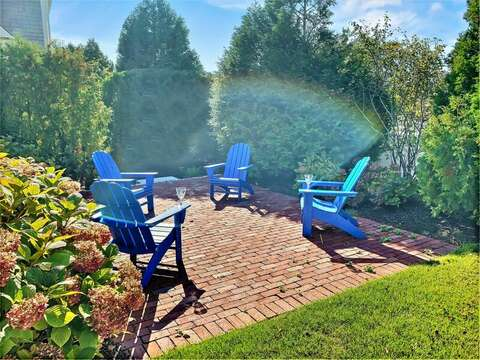New Patio with Adirondack chairs relax and recap your days adventures-32 Bearses By Way Chatham Cape Cod New England Vacation Rentals