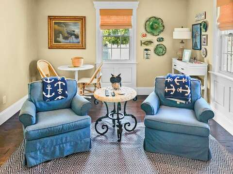 Chess or checkers anyone? Small game table in the living room - 32 Bearses By Way Chatham Cape Cod New England Vacation Rentals