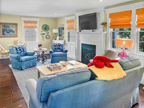 Open living room. The home has WiFi & Central AC throughout - 32 Bearses By Way Chatham Cape Cod New England Vacation Rentals