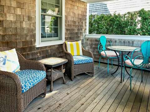 Covered porch to relax on - 32 Bearses By Way Chatham Cape Cod New England Vacation Rentals