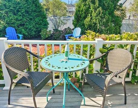 Enjoy a beverage at the Bistro Set on the back Deck-Bearses By Way Chatham Cape Cod New England Vacation Rentals