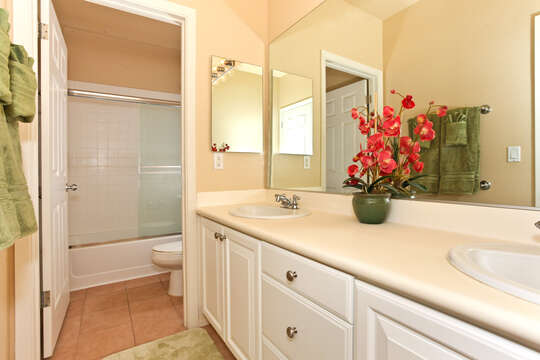 A colorful plant highlights the vanity sink in the bathroom, with a separate room with the toilet and shower.