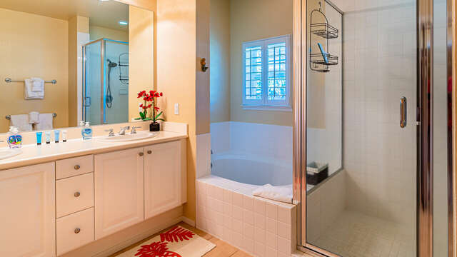 The Master Bath has a large walk-in shower and also deep, oversized tub for soaking
