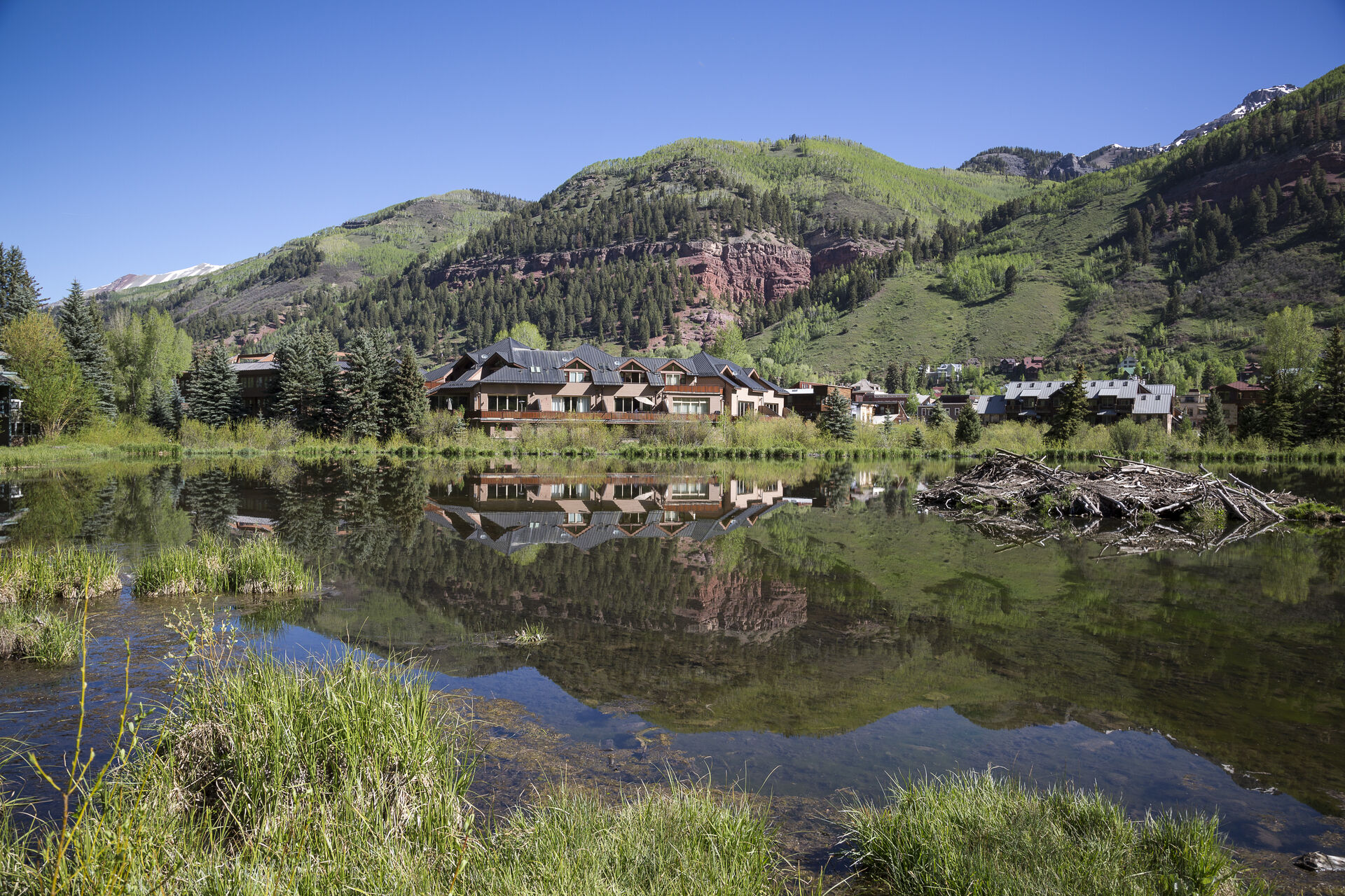 Views of the lake and homes around this Colorado Mountain vacation rental.