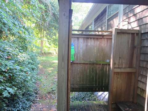 Enjoy the enclosed outdoor shower with hot and cold water when returning from the beach - 14 Capri Lane Chatham Cape Cod New England Vacation Rentals