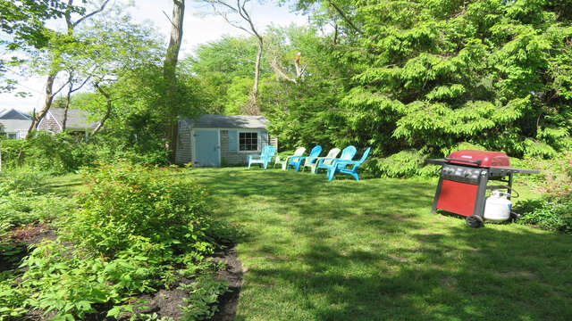 Back yard with plenty of seating -and plenty of room for the kids and Fido to run around- 14 Capri Lane Chatham Cape Cod New England Vacation Rentals