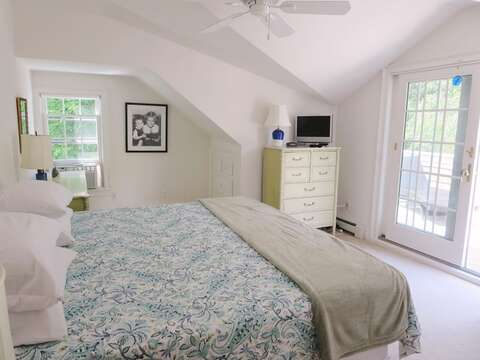 Bedroom 1 with King Bed and small TV - 1789 Main Street Chatham Cape Cod New England Vacation Rentals