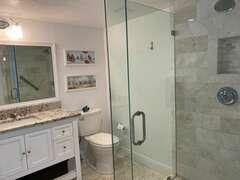 2nd bathroom:  Large walk in shower with handrails  Hairdryer, fan