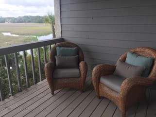 Comfortable chairs from Pottery Barn to enjoy the view!