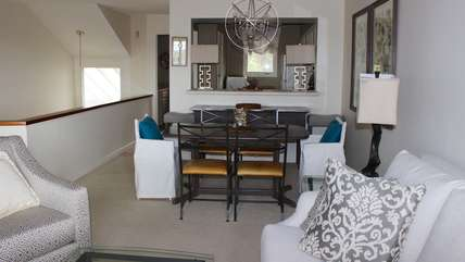 The open room allows an easy flow between the dining and kitchen areas.