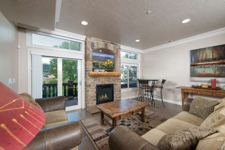 Living Room with Gas Fireplace & TV