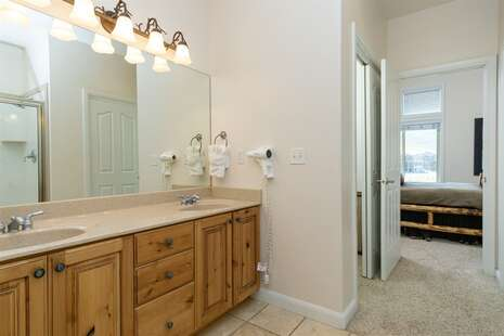Double Sink Vanity with View to Master Bedroom