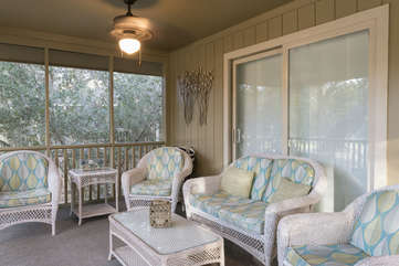 The screen porch invites you to curl up with a book. Enjoy your morning cup of coffee or your afternoon cocktail out here!