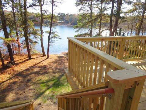 Stairs leading to the Pond from the deck - 379 Oak Street Harwich Cape Cod New England Vacation Rentals