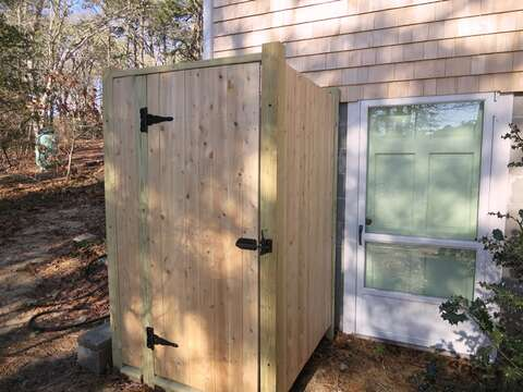 Outdoor shower with hot and cold water for your enjoyment after a day at the beach! - 379 Oak Street Harwich Cape Cod New England Vacation Rentals