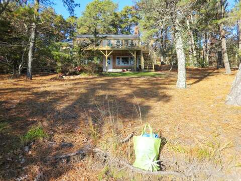 View of house from private sandy beach area - 379 Oak Street Harwich Cape Cod New England Vacation Rentals