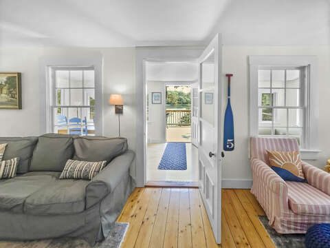 Living Area view to Sun Porch and Deck - Heaven's Hideaway! - 379 Oak Street Harwich Cape Cod New England Vacation Rentals