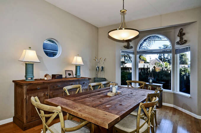 Dining room with seating for eight.