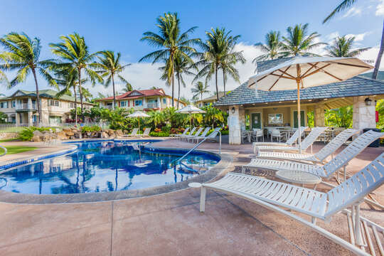 Relax at the Community Pool of Our Ko Olina Kai Golf Estate.