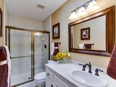 Guest bedroom bathroom with shower/tub combo.