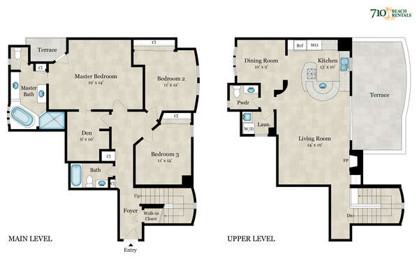 Layout of our South Mission Beach Vacation Rental.