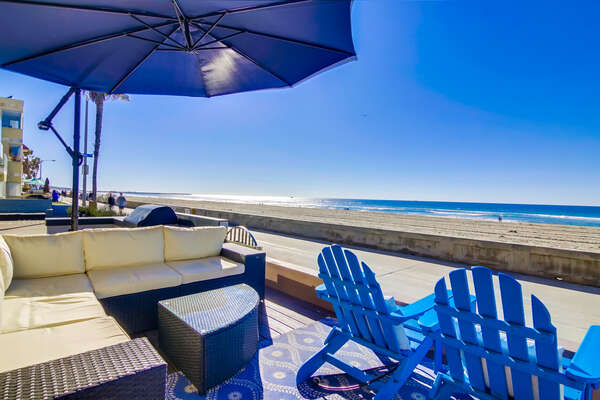 Oceanfront Patio with ample seating.