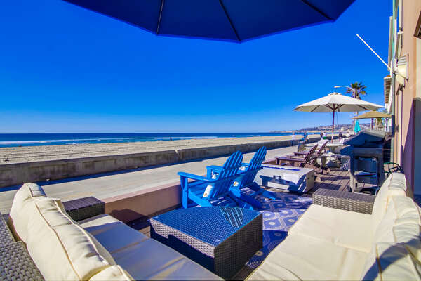 Oceanfront Patio with beautiful view of Mission Beach and ample seating.