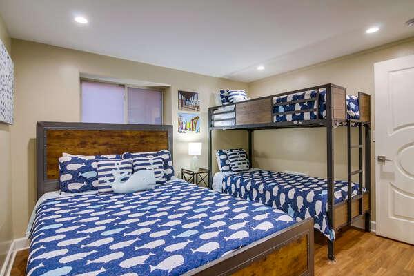 Guest Bedroom with Queen Bed & Twin/Twin Bunk.