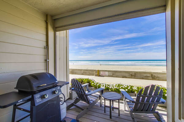 Oceanfront Patio with BBQ