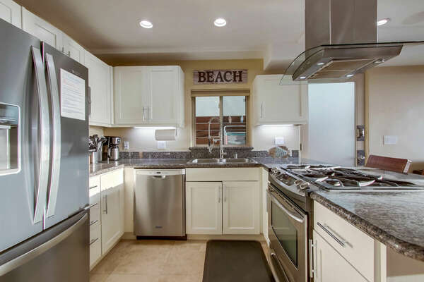 Kitchen of this San Diego vacation home rental with modern appliances and plenty of space.