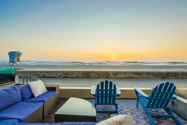 Oceanfront patio of this San Diego vacation home rental.