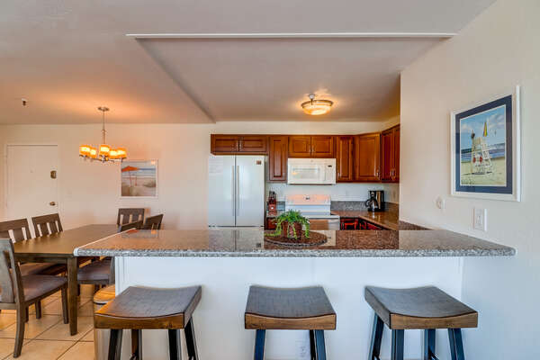 Breakfast bar seating for 3
