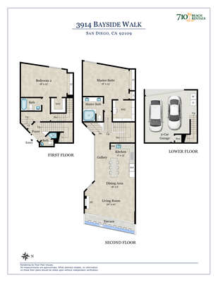 Floor Plan of Mission Bay Vacation Rental.