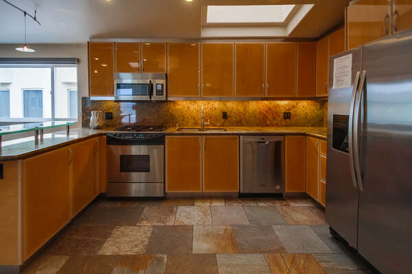 Wooden Cabinets in Large Kitchen.