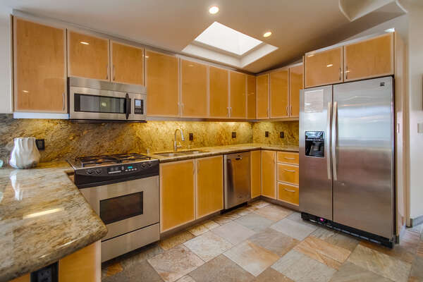 Stainless Steel Appliances in Luxury Kitchen.