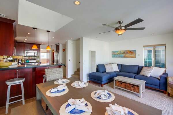 Open Concept Living Area in Vacation Rental in San Diego.