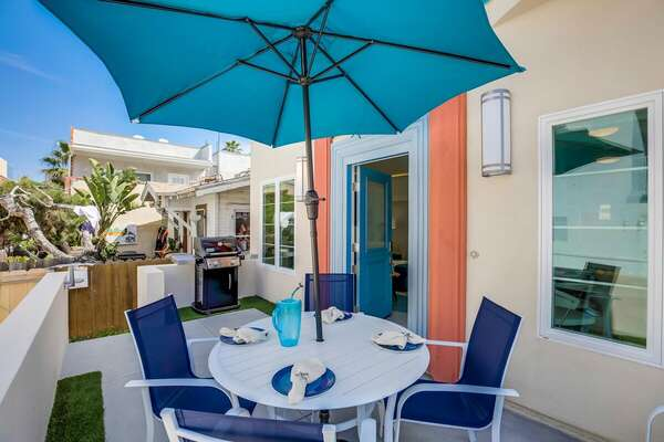 Front Patio Features Outdoor Dining & BBQ.