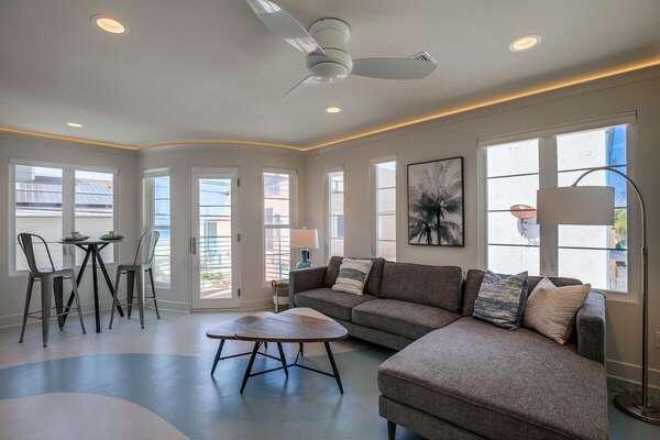 Second Floor Living Room Features Ocean View.