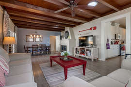 Front living room opens up into dining room.