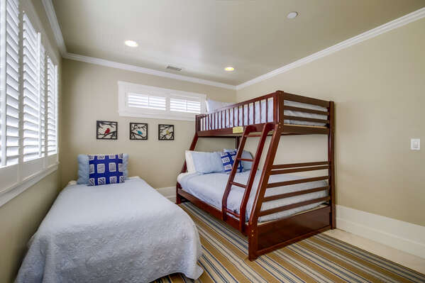 Bedroom three with Twin over Full bunk bed and Twin Bed