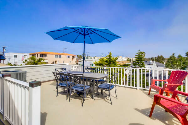 Upper level patio of this San Diego County Vacation Rental.