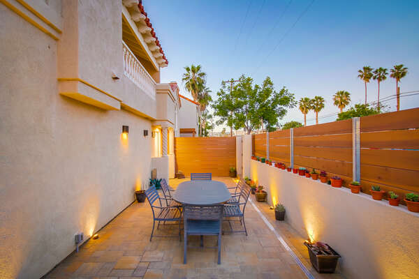 enclosed ground level patio at this Pacific Beach Vacation Rental
