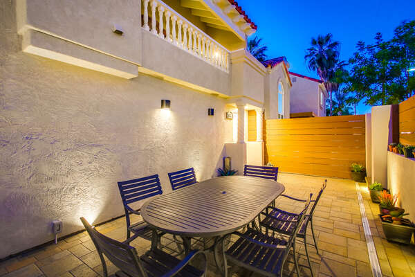 enclosed ground level patio outside this Pacific Beach Vacation Rental